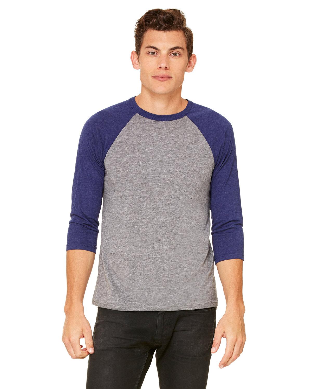 Bella + Canvas Unisex 3/4-Sleeve Baseball T-Shirt GREY/ NAVY TRB