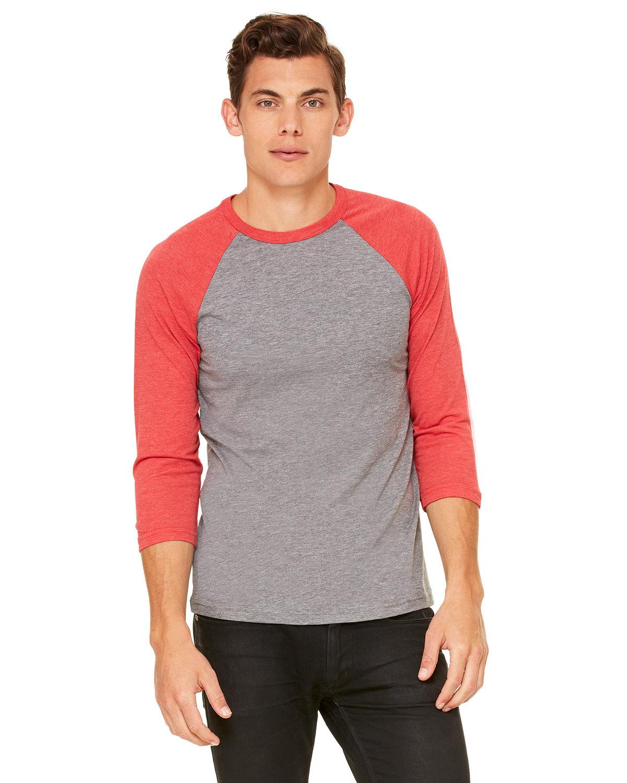 Bella + Canvas Unisex 3/4-Sleeve Baseball T-Shirt GREY/ LT RED TRB