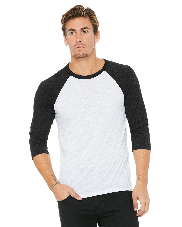 Bella + Canvas Unisex 3/4-Sleeve Baseball T-Shirt WHT FLCK/ CHR TR