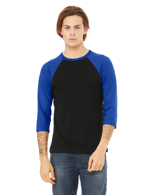 Bella + Canvas Unisex 3/4-Sleeve Baseball T-Shirt BLACK/ TRUE ROYL