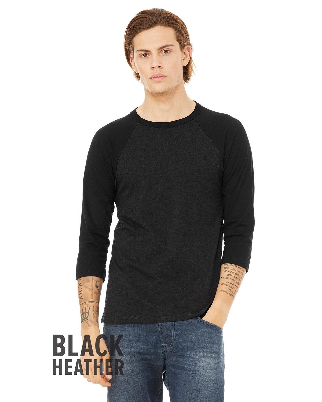 Bella + Canvas Unisex 3/4-Sleeve Baseball T-Shirt BLK HEATHER/ BLK