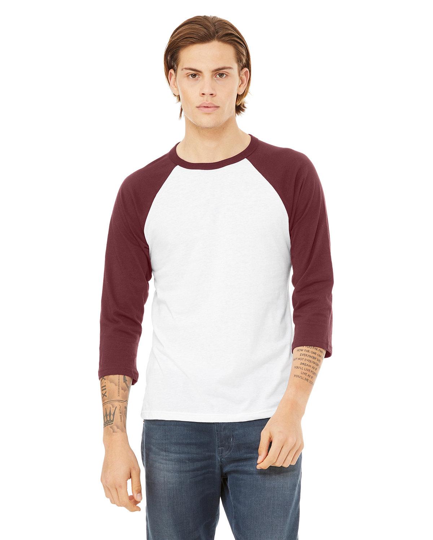 Bella + Canvas Unisex 3/4-Sleeve Baseball T-Shirt WHITE/ MAROON