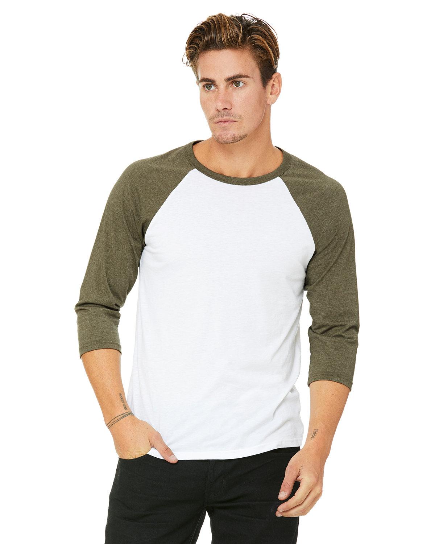 Bella + Canvas Unisex 3/4-Sleeve Baseball T-Shirt WHT/ HTHR OLIVE