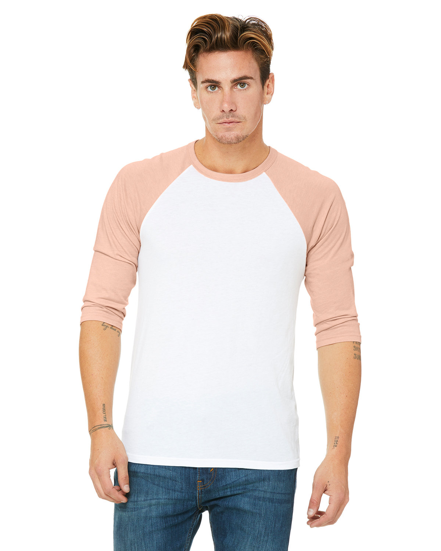 Bella + Canvas Unisex 3/4-Sleeve Baseball T-Shirt WHT/ HTHR PEACH