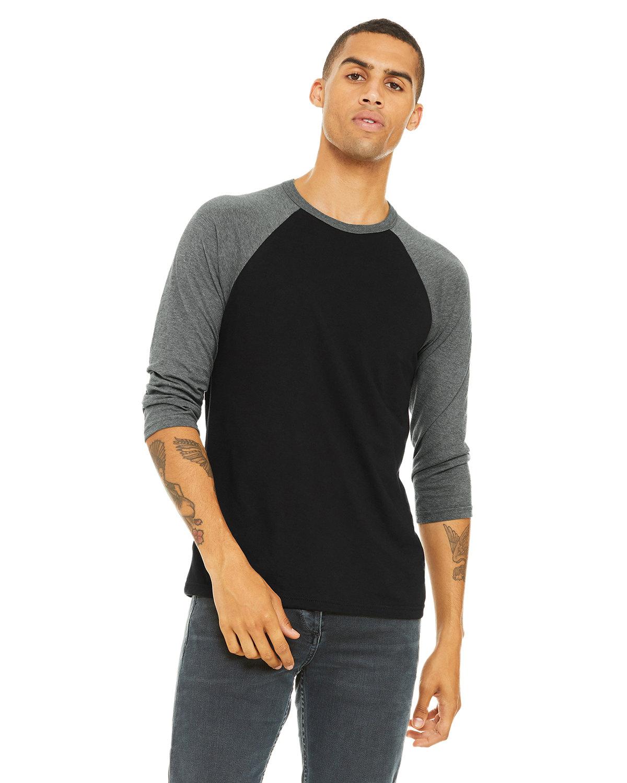 Bella + Canvas Unisex 3/4-Sleeve Baseball T-Shirt BLACK/ DEEP HTHR