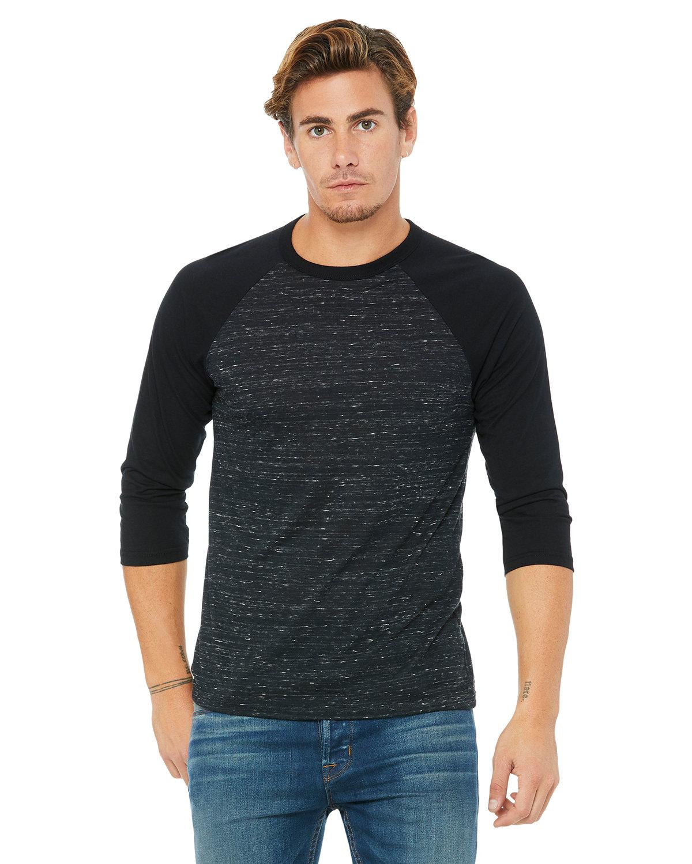 Bella + Canvas Unisex 3/4-Sleeve Baseball T-Shirt BLCK MRBLE/ BLCK