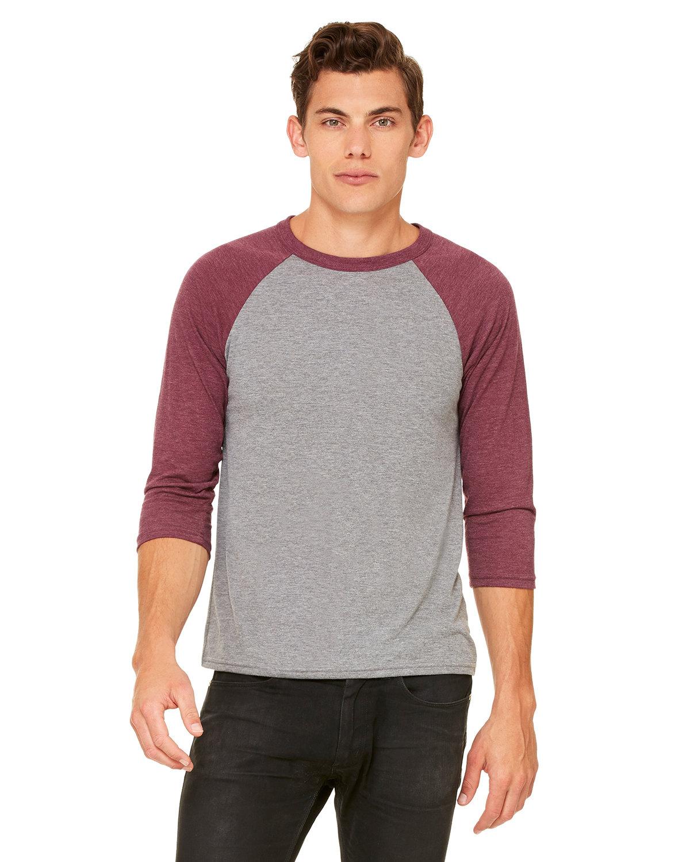 Bella + Canvas Unisex 3/4-Sleeve Baseball T-Shirt GRY/ MAROON TRB