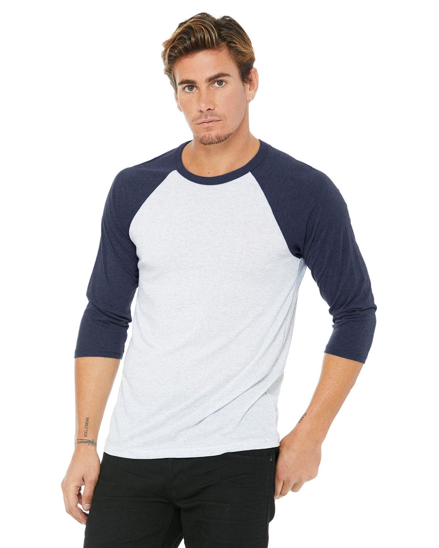 Bella + Canvas Unisex 3/4-Sleeve Baseball T-Shirt WHT FLK/ NVY TRB
