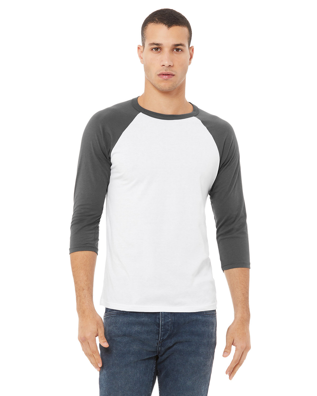 Bella + Canvas Unisex 3/4-Sleeve Baseball T-Shirt WHITE/ ASPHALT