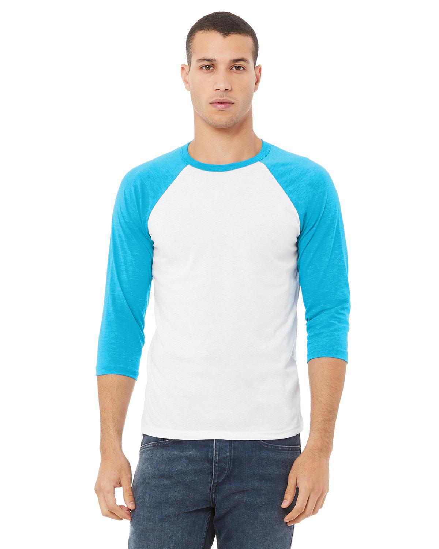 Bella + Canvas Unisex 3/4-Sleeve Baseball T-Shirt WHITE/ NEON BLUE