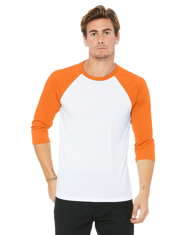Bella + Canvas Unisex 3/4-Sleeve Baseball T-Shirt WHT/ NEON ORANGE