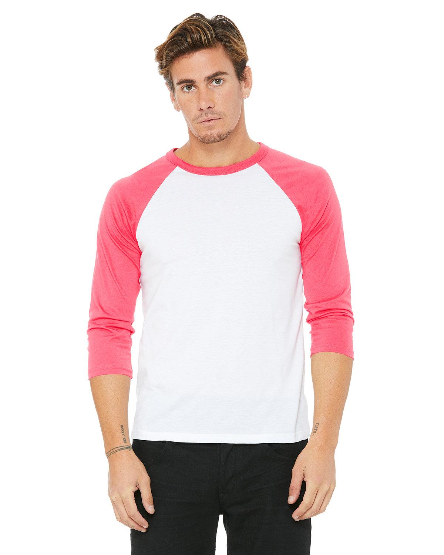 Bella + Canvas Unisex 3/4-Sleeve Baseball T-Shirt WHITE/ NEON PINK