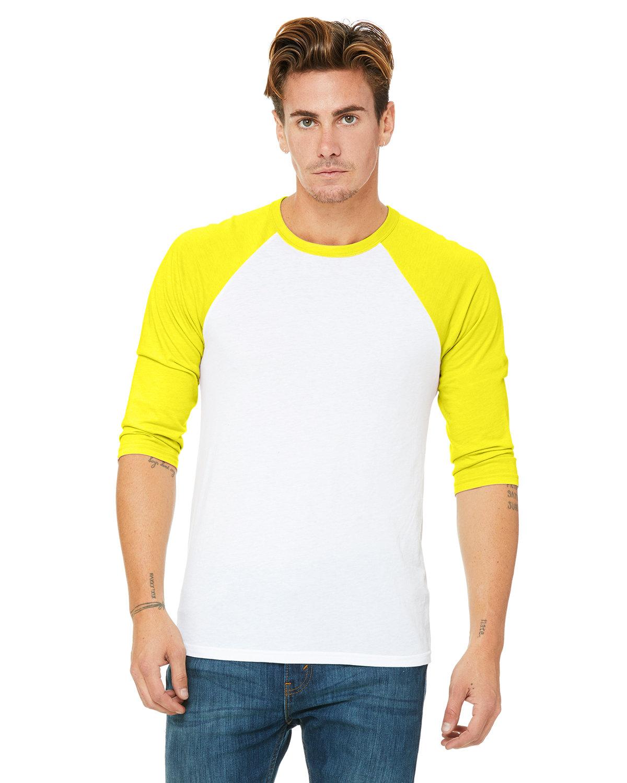 Bella + Canvas Unisex 3/4-Sleeve Baseball T-Shirt WHT/ NEON YELLOW