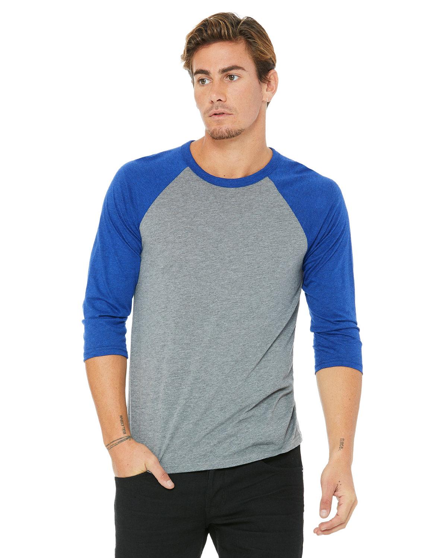 Bella + Canvas Unisex 3/4-Sleeve Baseball T-Shirt GREY/ TR RYL TRB