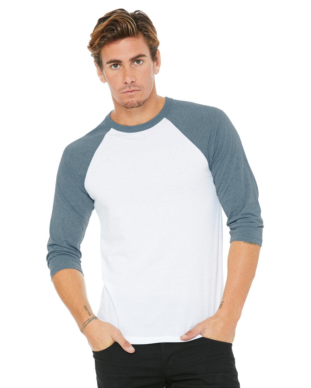 Bella + Canvas Unisex 3/4-Sleeve Baseball T-Shirt WHITE/ DENIM