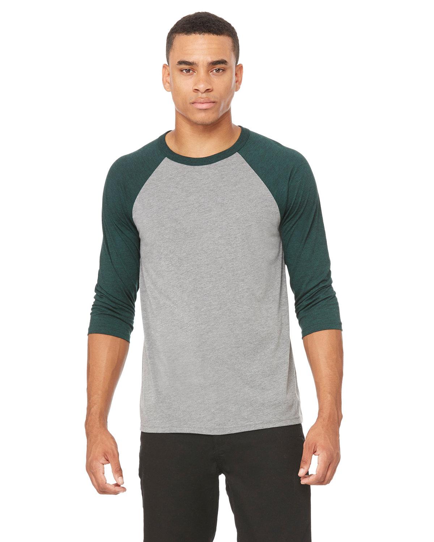 Bella + Canvas Unisex 3/4-Sleeve Baseball T-Shirt GREY/ EMERLD TRB