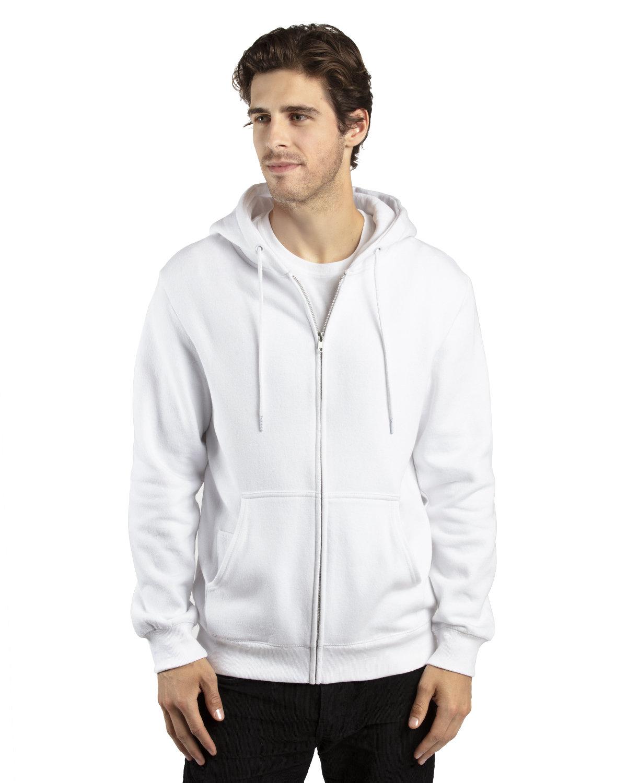 Threadfast Apparel Unisex Ultimate Fleece Full-Zip Hooded Sweatshirt WHITE