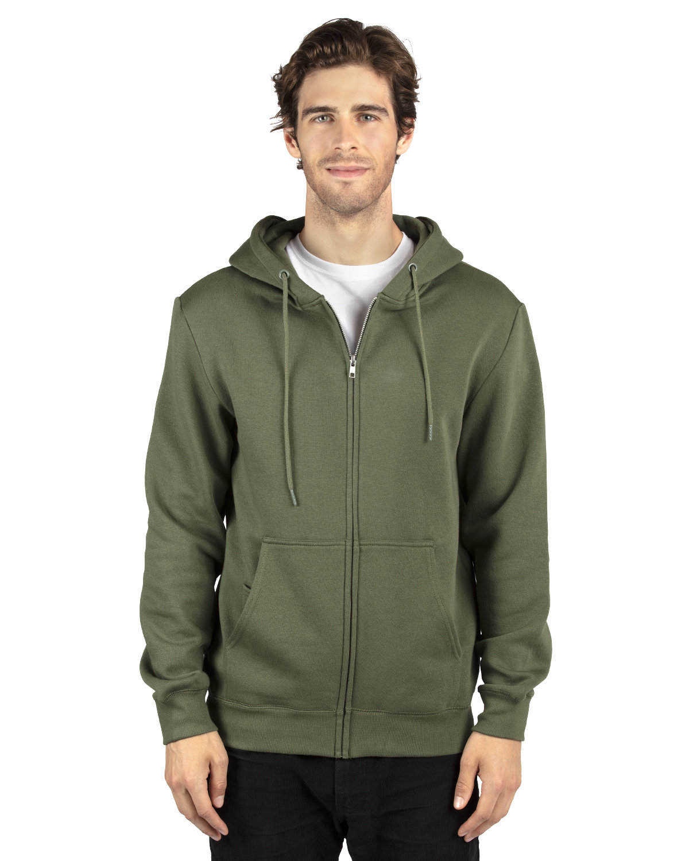 Threadfast Apparel Unisex Ultimate Fleece Full-Zip Hooded Sweatshirt ARMY