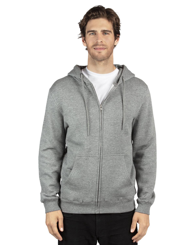 Threadfast Apparel Unisex Ultimate Fleece Full-Zip Hooded Sweatshirt HEATHER GREY