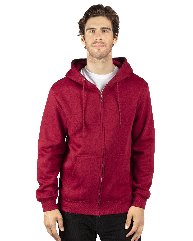 Threadfast Apparel Unisex Ultimate Fleece Full-Zip Hooded Sweatshirt BURGUNDY