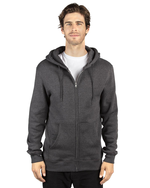 Threadfast Apparel Unisex Ultimate Fleece Full-Zip Hooded Sweatshirt CHARCOAL HEATHER