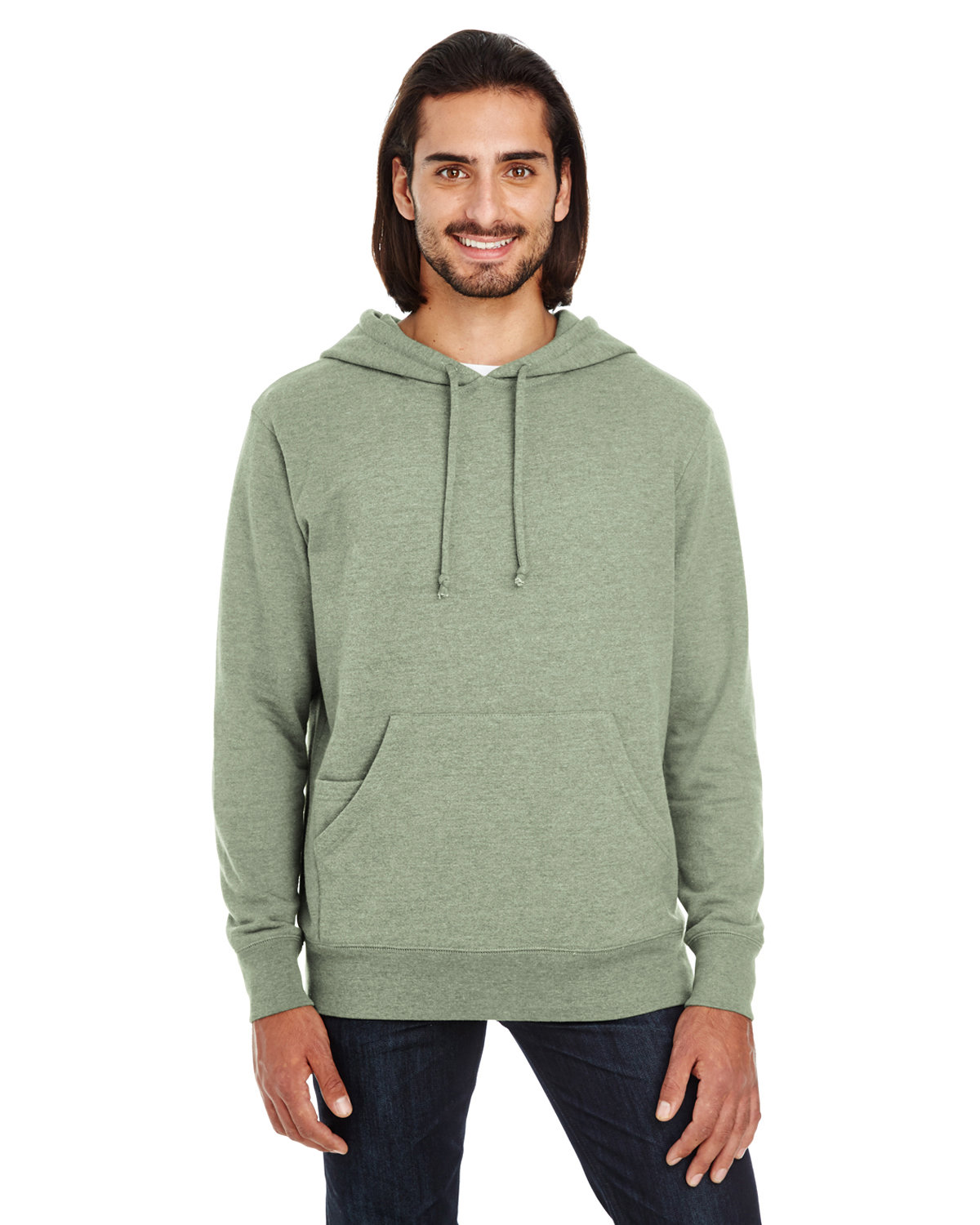 Threadfast Apparel Unisex Triblend French Terry Hoodie ARMY HEATHER