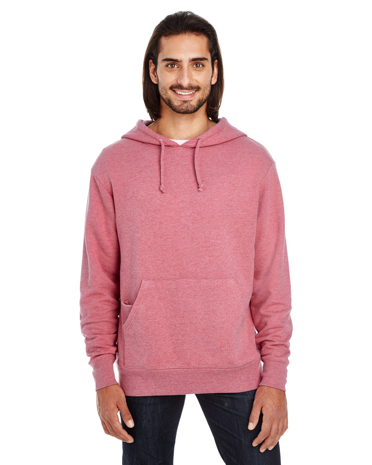 Threadfast Apparel Unisex Triblend French Terry Hoodie CARDINAL HEATHER