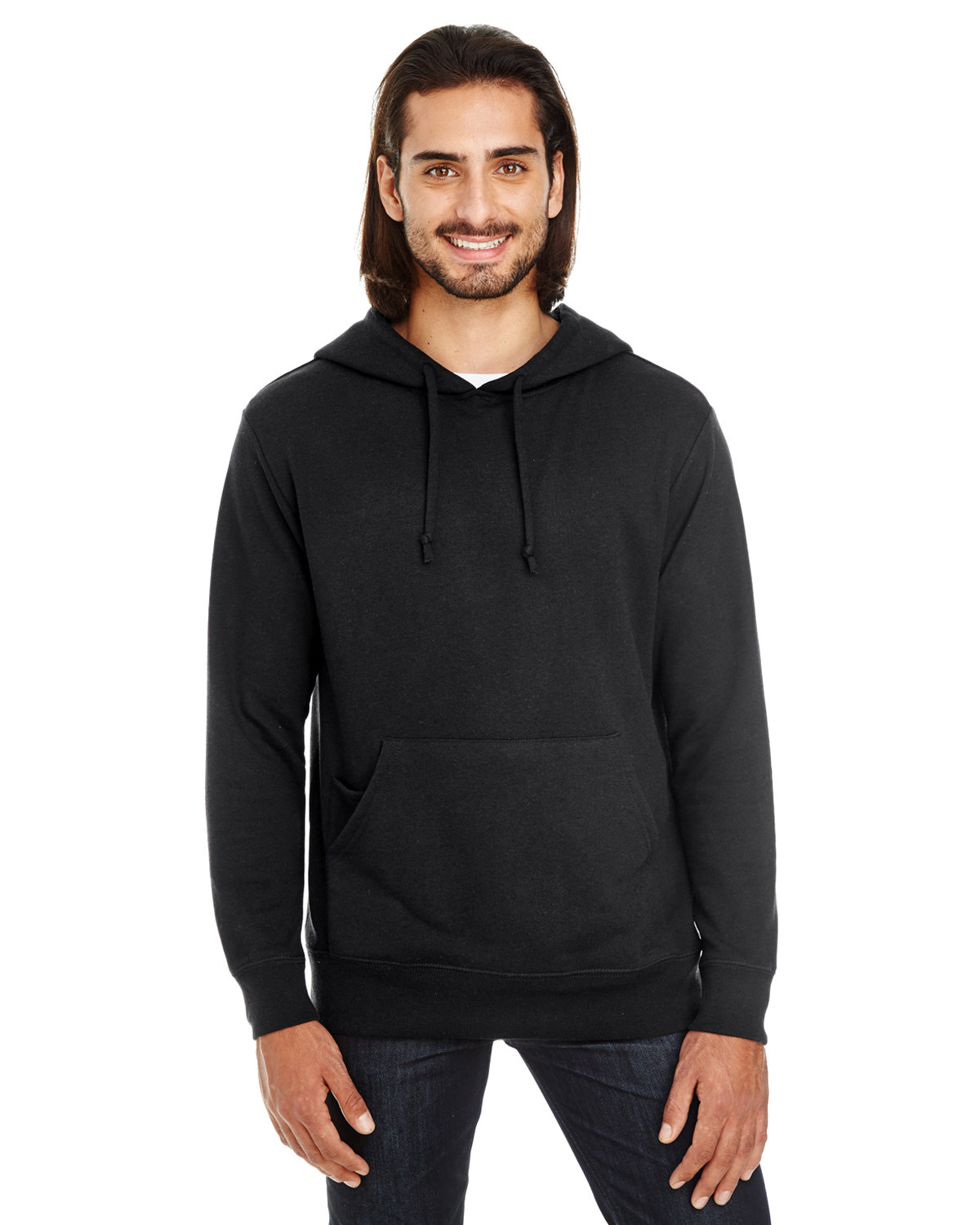 Threadfast Apparel Unisex Triblend French Terry Hoodie BLACK SOLID