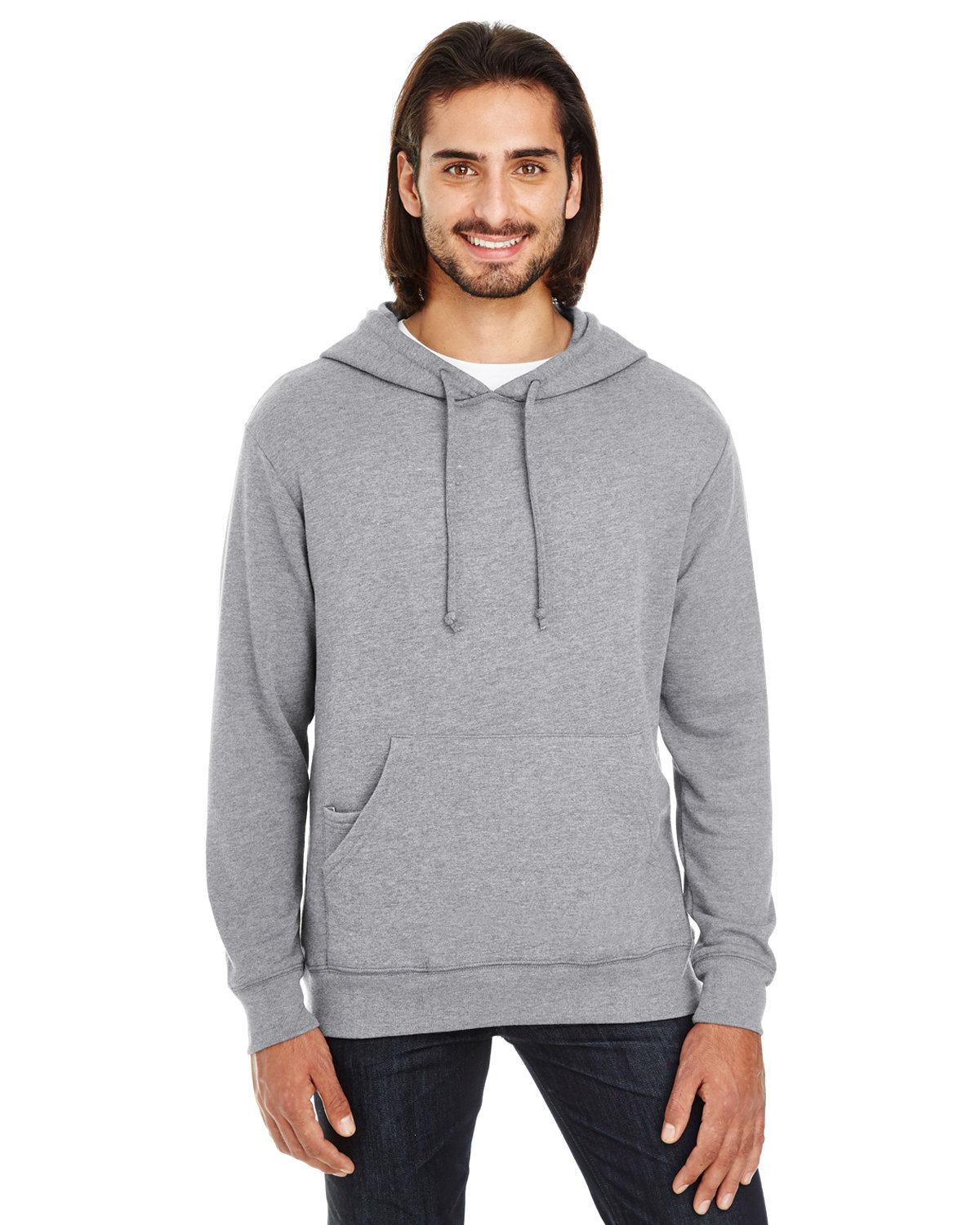 Threadfast Apparel Unisex Triblend French Terry Hoodie CHARCOAL HEATHER
