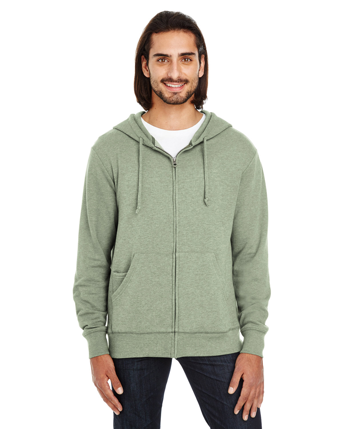 Threadfast Apparel Unisex Triblend French Terry Full-Zip ARMY HEATHER