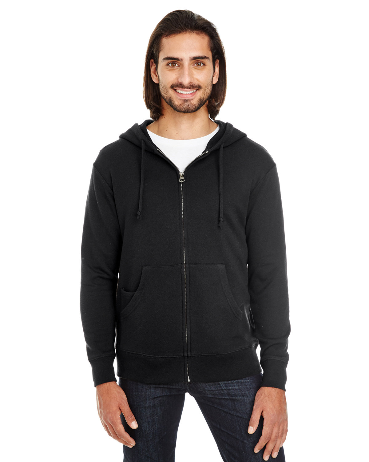 Threadfast Apparel Unisex Triblend French Terry Full-Zip BLACK SOLID