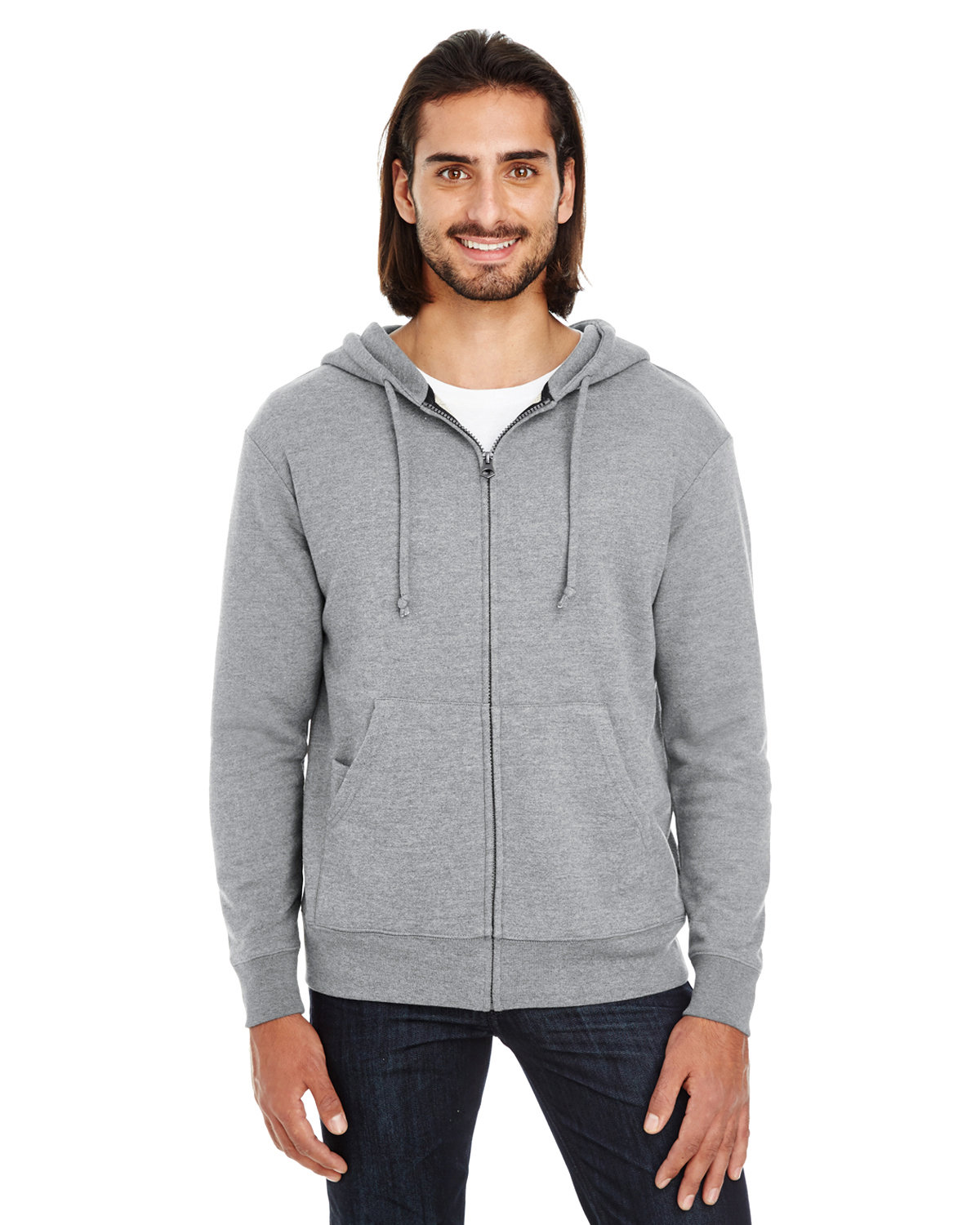 Threadfast Apparel Unisex Triblend French Terry Full-Zip CHARCOAL HEATHER