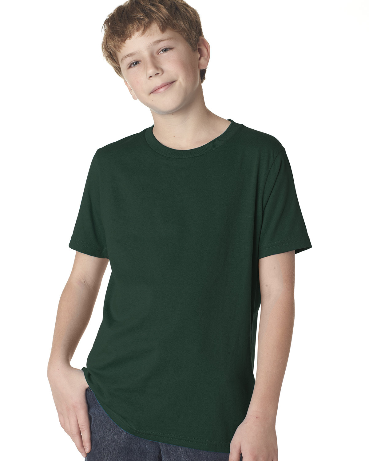 Next Level Youth Boys' Cotton Crew FOREST GREEN