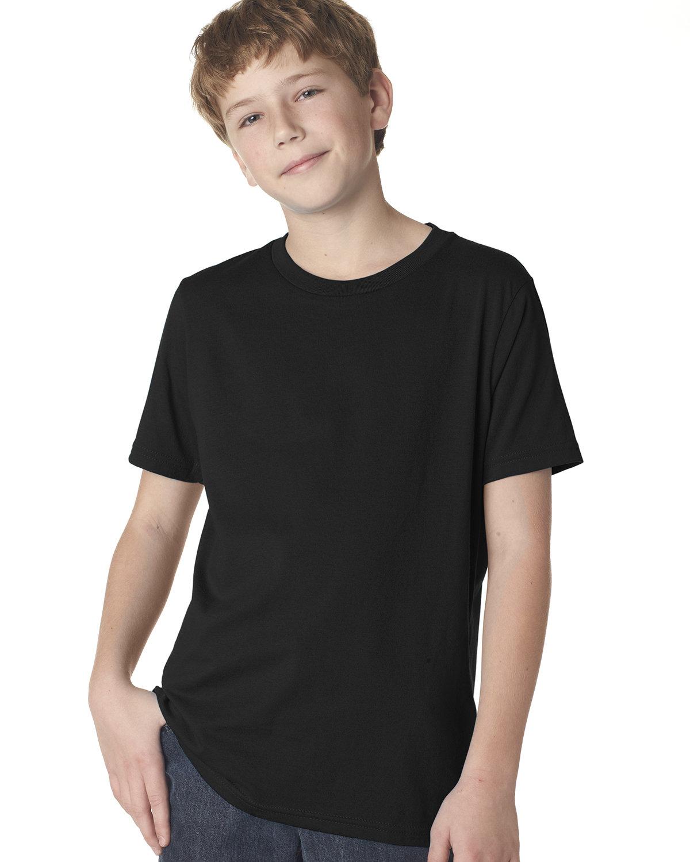Next Level Youth Boys' Cotton Crew BLACK
