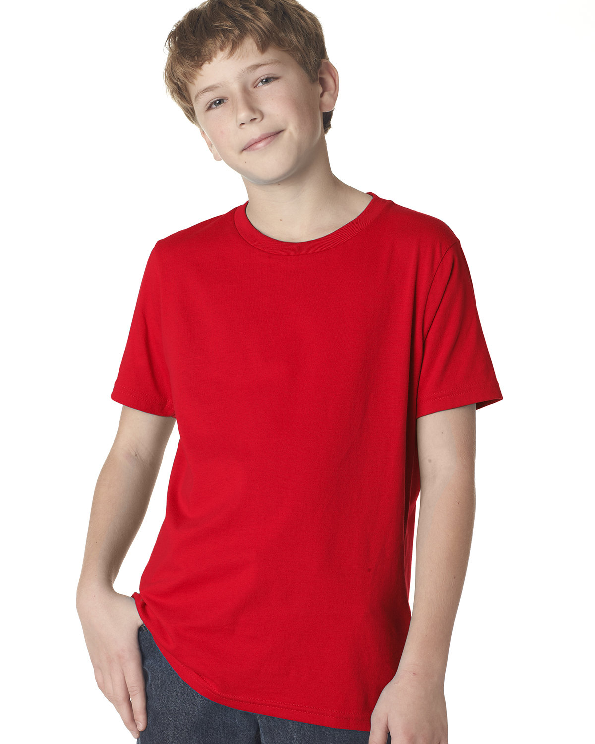 Next Level Youth Boys' Cotton Crew RED