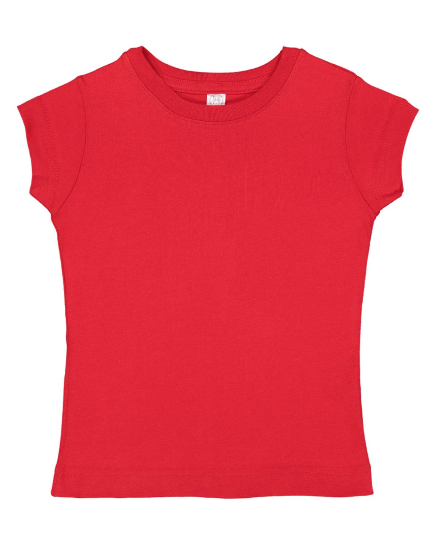 Rabbit Skins Toddler Girls' Fine Jersey T-Shirt RED