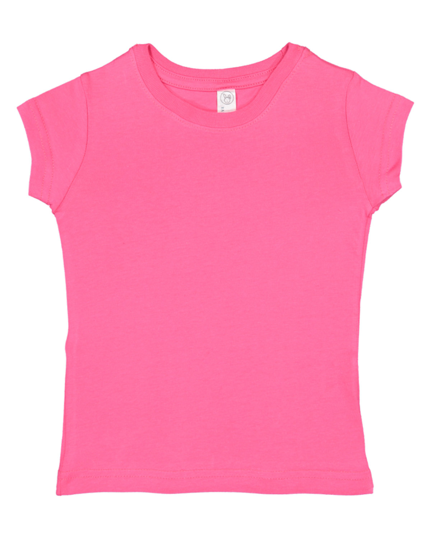Rabbit Skins Toddler Girls' Fine Jersey T-Shirt HOT PINK
