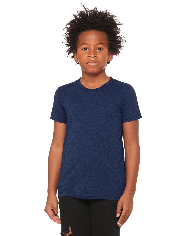 Bella + Canvas Youth Triblend Short-Sleeve T-Shirt NAVY TRIBLEND