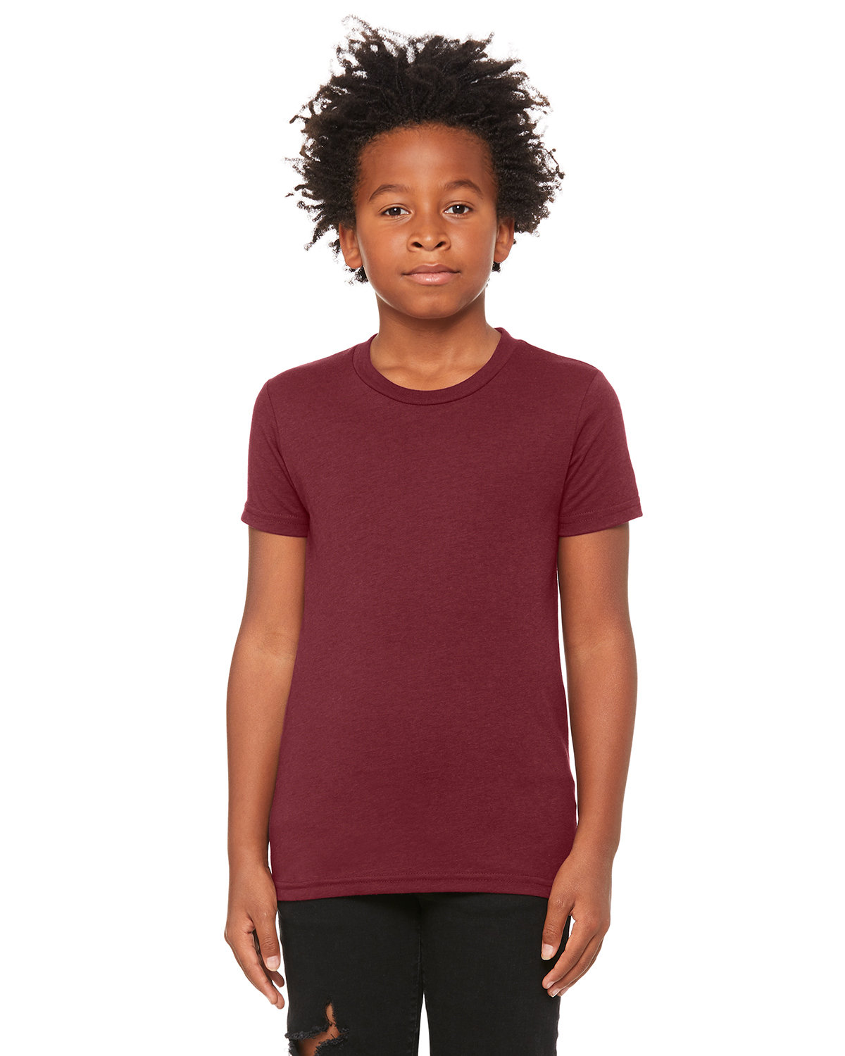 Bella + Canvas Youth Triblend Short-Sleeve T-Shirt MAROON TRIBLEND