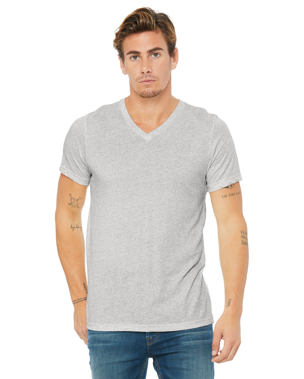 Bella + Canvas Unisex Triblend V-Neck T-Shirt WHT FLCK TRIBLND