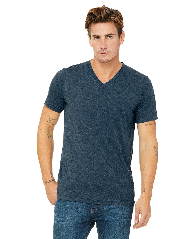 Bella + Canvas Unisex Triblend V-Neck T-Shirt STEEL BLU TRBLND