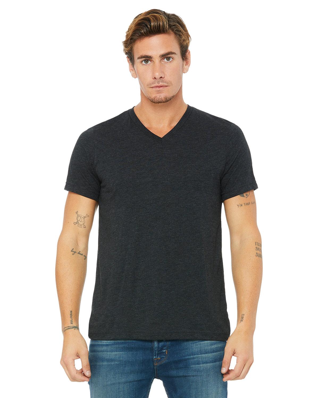 Bella + Canvas Unisex Triblend V-Neck T-Shirt CHAR-BLACK TRIB