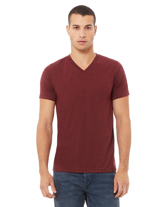 Bella + Canvas Unisex Triblend V-Neck T-Shirt CARDINAL TRIBLND