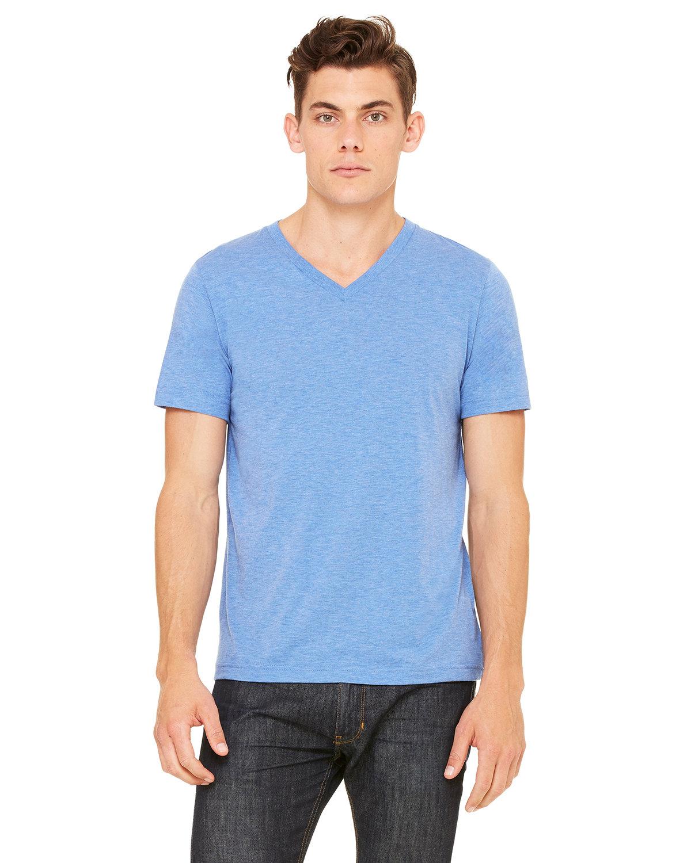 Bella + Canvas Unisex Triblend V-Neck T-Shirt BLUE TRIBLEND