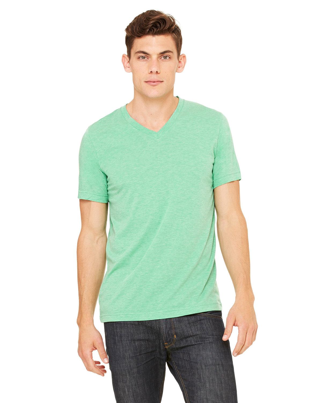 Bella + Canvas Unisex Triblend V-Neck T-Shirt GREEN TRIBLEND