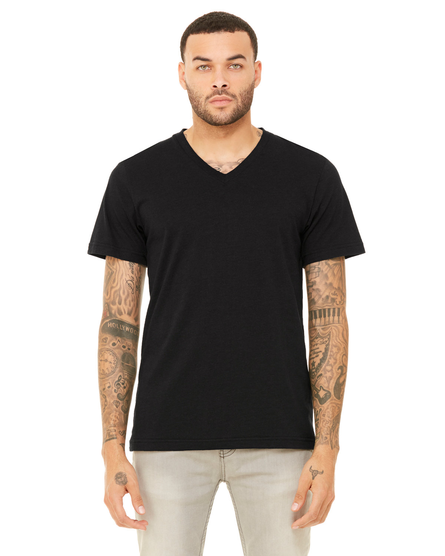 Bella + Canvas Unisex Triblend V-Neck T-Shirt BLK HTHR TRIBLND