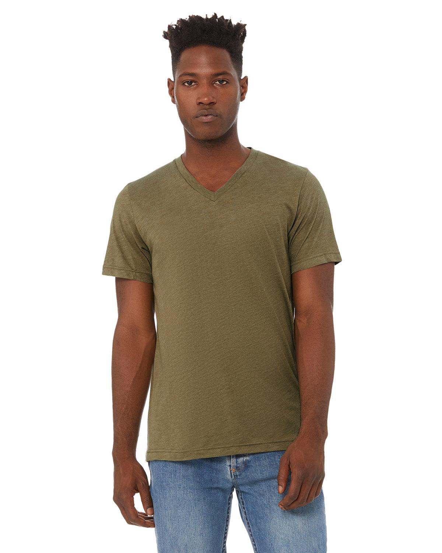 Bella + Canvas Unisex Triblend V-Neck T-Shirt OLIVE TRIBLEND