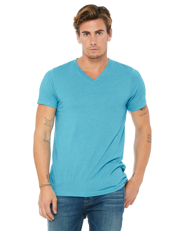 Bella + Canvas Unisex Triblend V-Neck T-Shirt AQUA TRIBLEND