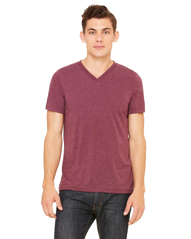 Bella + Canvas Unisex Triblend V-Neck T-Shirt MAROON TRIBLEND