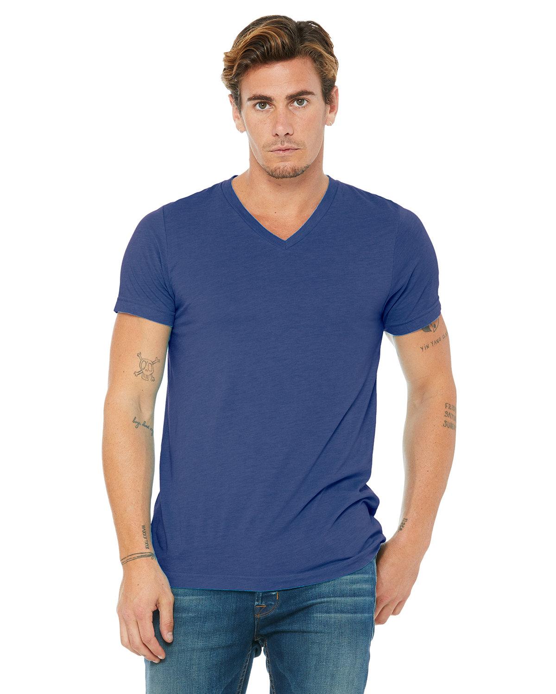 Bella + Canvas Unisex Triblend V-Neck T-Shirt TRUE ROYAL TRBLN